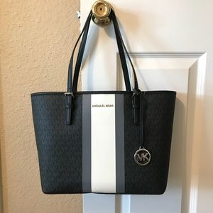 Michael Kors Central Stripe Logo Jet Set Tote